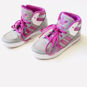 Adidas Light Grey and Pink Hightop Sneakers